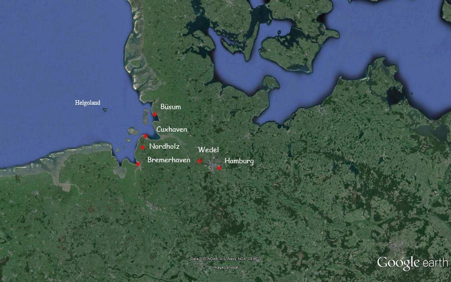 Landkarte von Nord-Deutschland mit den Orten mit Anbindung nach Helgoland